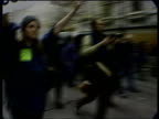 World Trade Organisation Seattle Riots ITN USA Washington DC Seattle Anticapitalist protester along as speaking into megaphone SOT MS Demonstrators...