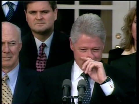 Russia Tightening Grip on Chechnya ITN USA Washington DC President Bill Clinton along to podium Bill Clinton speech SOT Let's focus on what the...