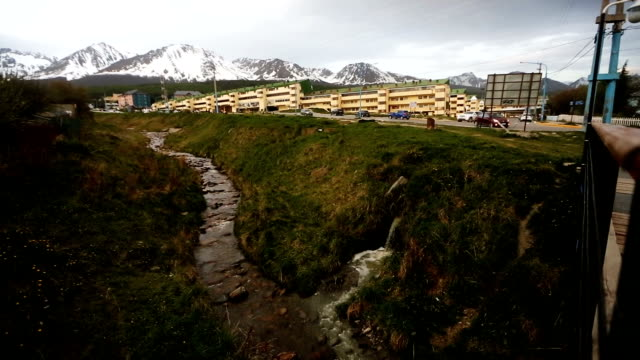 A polluted runoff stream descends from the Martial Glacier on November 2 2017 in Ushuaia Argentina