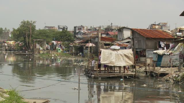 Polluted stream in Manila slum