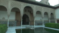 MS, ZO Pond in Court of the Myrtles in Alhambra palace, Granada, Andalusia, Spain