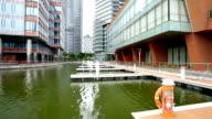 pond near modern buildings in midtown of modern city