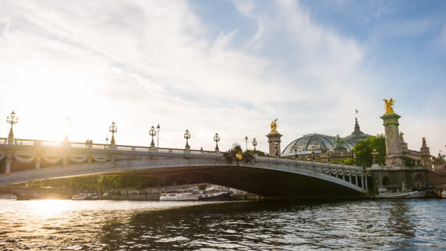 Pont Alexandre III over Seine river with Grand Palais in the background