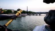 Pont Alexandre III with view on tour Eiffel, time lapse