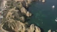AERIAL WS Ponta da Piedade coastline / Lagos, Faro, Portugal