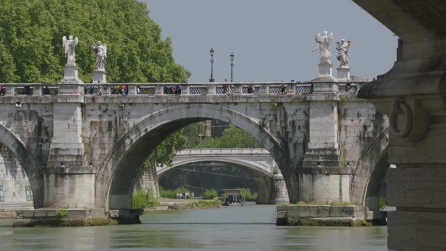 MS Ponte Sant'Angelo Bridge over Tiber River / Rome, Italy