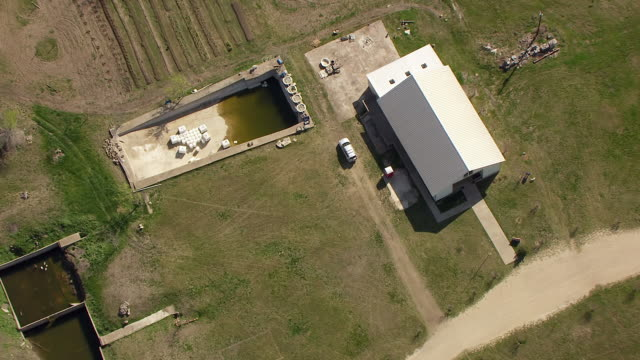 MS AERIAL ZO pool and building foundation and chapel at Mount Carmel Center / Dallas, Texas, United States
