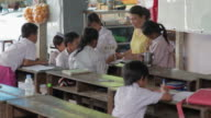 Poor Cambodian and Vietnamese school children in a free missionary school