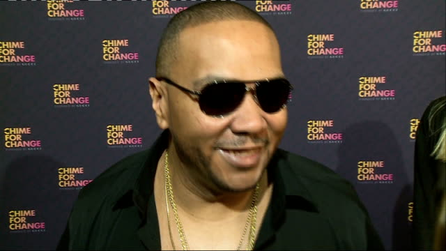 Chime for Change concert Backstage interviews Timbaland chatting to press / Ellie Goulding chatting to press / James Franco chatting to press /...