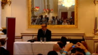 George Michael diagnosed with pneumonia ENGLAND London INT George Michael press conference to announce his new tour George Michael standing outside...