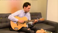 'Made In Chelsea' star Andy Jordan intv Andy Jordan performs song on acoustic guitar SOT