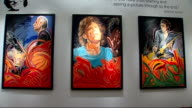 Ronnie Wood art exhibition and interview General views of Wood's paintings at exhibition / general views of people along at exhibition / Fern...