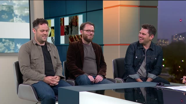 Scouting For Girls interview ENGLAND London GIR INT Scouting For Girls band members Roy Stride Greg Churchouse and Pete Ellard STUDIO interview SOT