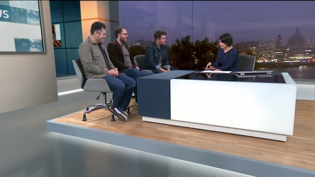 Scouting For Girls interview London GIR INT Scouting For Girls band members Roy Stride Greg Churchouse and Pete Ellard STUDIO interview SOT
