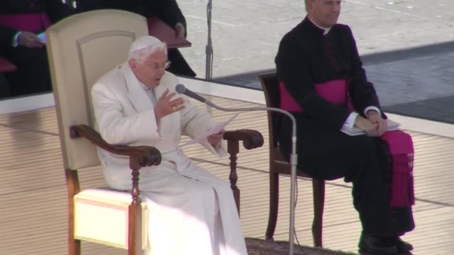 Pope Benedict XVI on Wednesday admitted stormy waters during his pontificate as he held his last audience in St Peters Square before tens of...