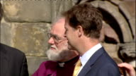 day one Pope and Queen speak at Holyrood Palace / Procession through Edinburgh SCOTLAND Edinburgh Holyrood Palace EXT Rowan Williams speaking with...