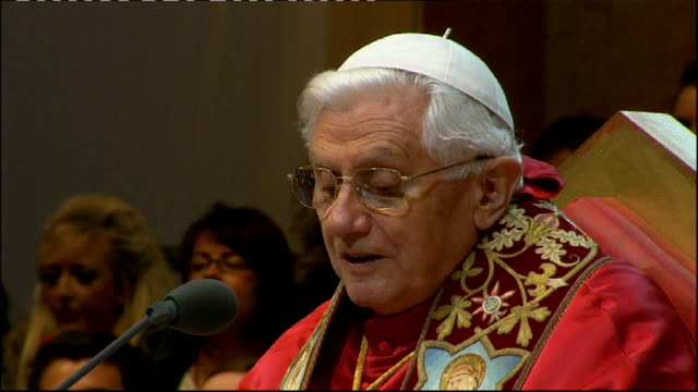 day three Hyde Park prayer vigil Pope Benedict XVI puts on glasses and reads his address SOT My Brothers and Sisters in Christ This is an evening of...