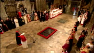 Day Two ENGLAND London Westminster Abbey INT Pope Benedict XVI with Dean of Westminster Dr John Hall at the Tomb of the Unknown Warrior Hall speaking...