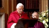 Day Two Lambeth Palace Pope Benedict XVI speech SOT Your Grace It is a pleasure for me to be able to return the courtesy of the visits you have made...