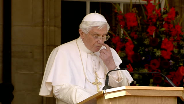 Pope speech and Queen's speech at Holyrood House Pope Benedict XVI speech SOT Your Majesty Thank you for your gracious invitation to make an official...