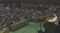 Pope Francis delivers a speech in UN General Assembly at UN Headquarters in New York NY USA on September 25 2015 Pope Francis is on a fiveday trip to...