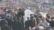Pope Francis delivers blessing and greets people during his weekly Papal Audience at St Peter's Square in Vatican on April 15 2015 Mawlawi Shaykh...