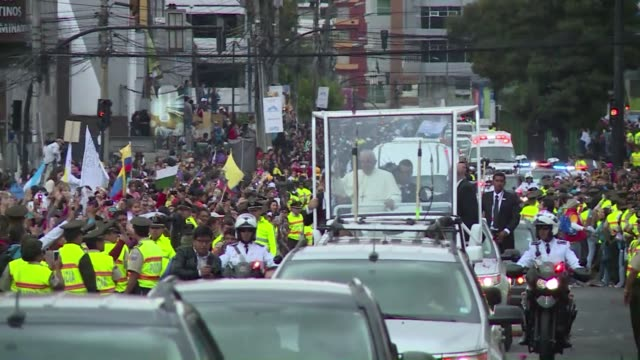 """Pope Francis """"looked like an angel"""" said one of the many Ecuadoran Catholics who were ecstatic to see the pope even for a brief moment upon his..."""