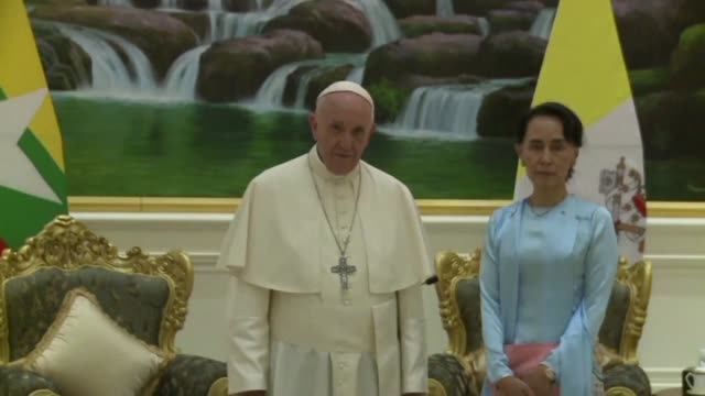 Pope Francis meets Myanmar's leader Aung San Suu Kyi, a pivotal moment in a visit aimed at alleviating religious and ethnic hatreds that have driven huge numbers of Muslim Rohingya from the country