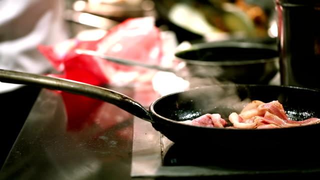 HD: Pork bacon cooking