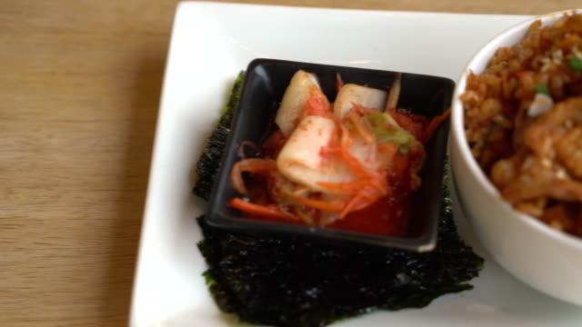 pork kimchi fried rice with seaweed