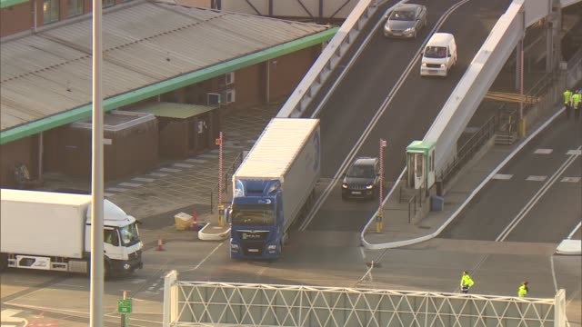 Port of Dover fears trade bottleneck after Brexit Port of Dover general views ENGLAND Kent Dover Port of Dover EXT Various of lorries and cars...