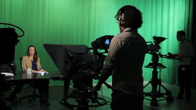 Portait of Camera opperator in Television studio