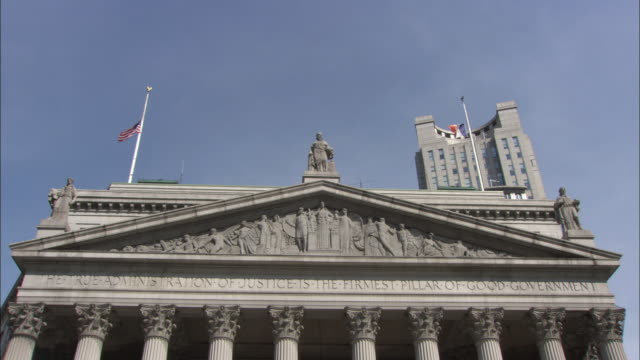 MS LA TD Portico and classical columns of New York Supreme Court building / New York City, New York, USA