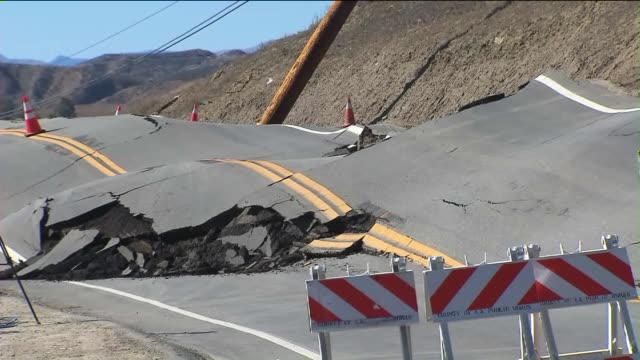 KTLA A portion of Vasquez Canyon Road remained closed indefinitely on November 20 2015 after a landslide prompted buckling and significant damage...