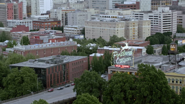 AERIAL Portland Oregon sign on the White Stag building