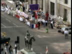 03 Portland Place Polish Embassy Flag flying / Demonstrators with banners / 'Solidarity' flag flying / Embassy nameplate / TS Demonstrators /...