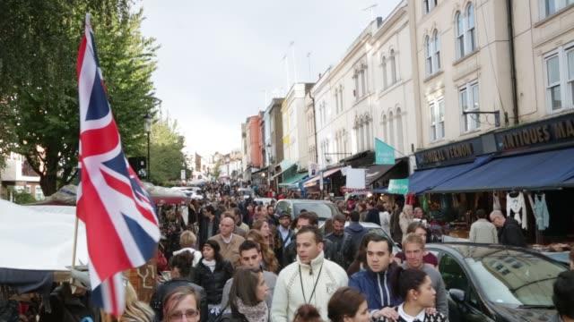 Portobello Road Market Shopping Notting Hill on October 01 2012 in London
