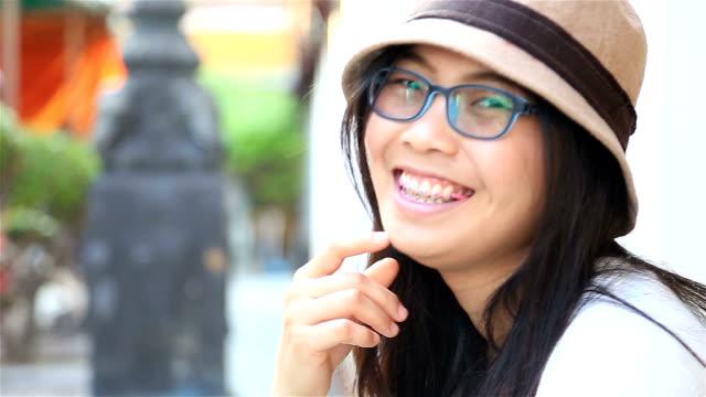 HD: Portrait asian woman laugh and smile.