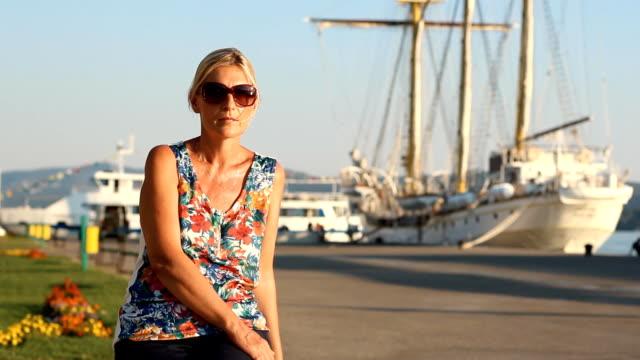 Portrait mature woman in a Harbor