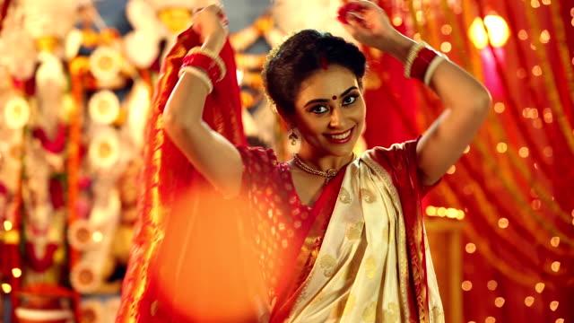 Portrait of a bengali woman celebrating durga puja festival, Delhi, India