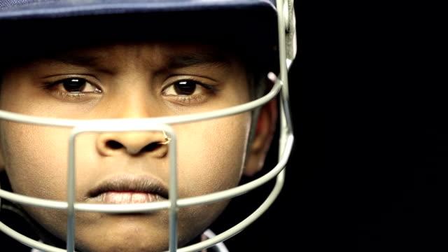 Portrait of a boy wearing sport helmet