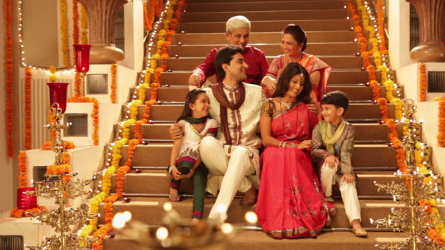 Portrait of a family celebrating diwali festival