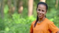 SLO MO CS Portrait of a female African-American runner