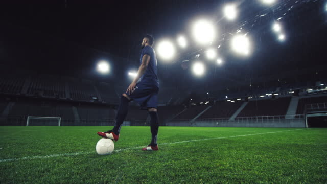 DS Portrait of a football player with one foot on the ball