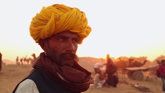 Portrait of a rajasthani adult man, Pushkar, Rajasthan, India