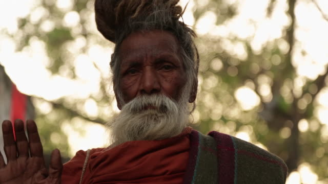 Portrait of a sage worshipping, Rishikesh, Uttarakhand, India