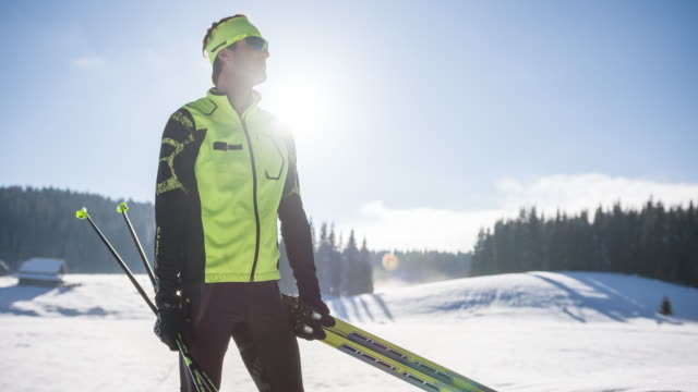 Portrait of a young male cross country skier