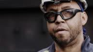 Portrait of African American blue collar industrial worker