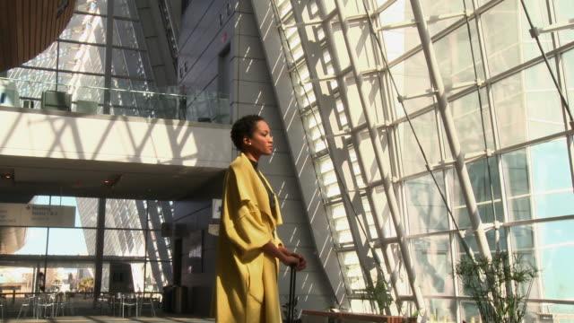 Portrait of African American traveler in airport