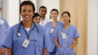 MS PAN Portrait of Diverse Group of Medical Workers in Hospital Hallway / Richmond, Virginia, USA